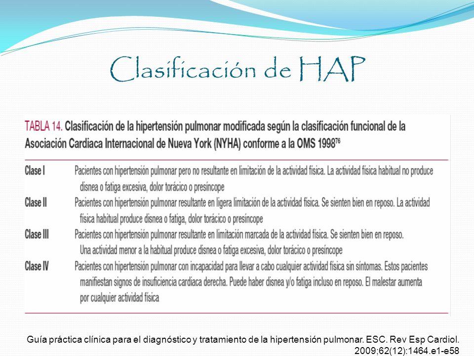 Clasificación de HAP Guía práctica clínica para el diagnóstico y tratamiento de la hipertensión pulmonar. ESC. Rev Esp Cardiol. 2009;62(12):1464.e1-e5