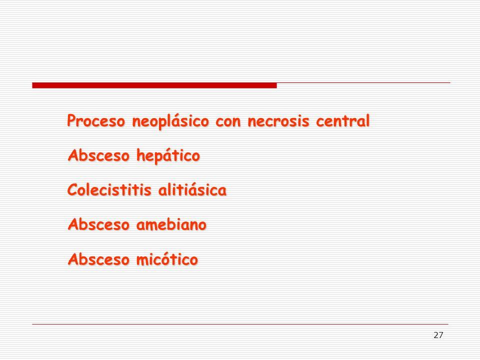 27 Proceso neoplásico con necrosis central Absceso hepático Colecistitis alitiásica Absceso amebiano Absceso micótico