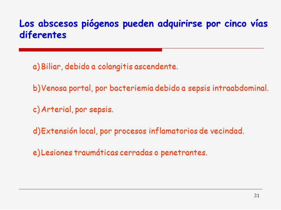 31 Los abscesos piógenos pueden adquirirse por cinco vías diferentes a)Biliar, debido a colangitis ascendente.