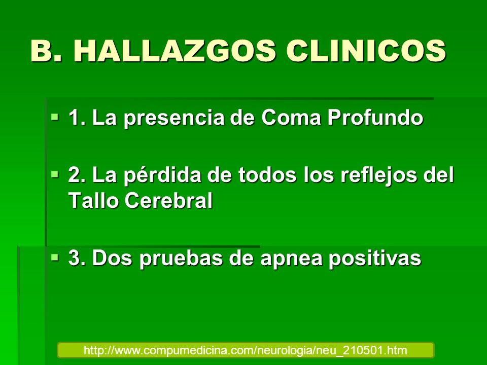 B. HALLAZGOS CLINICOS 1. La presencia de Coma Profundo 1. La presencia de Coma Profundo 2. La pérdida de todos los reflejos del Tallo Cerebral 2. La p