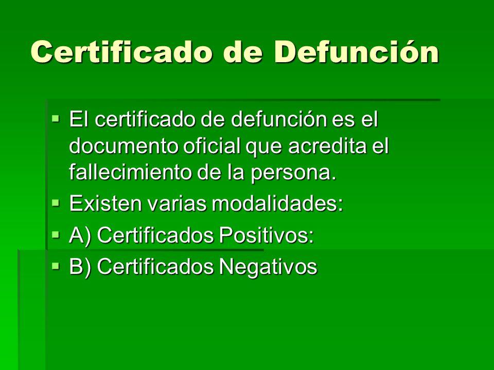 Certificado de Defunción El certificado de defunción es el documento oficial que acredita el fallecimiento de la persona. El certificado de defunción