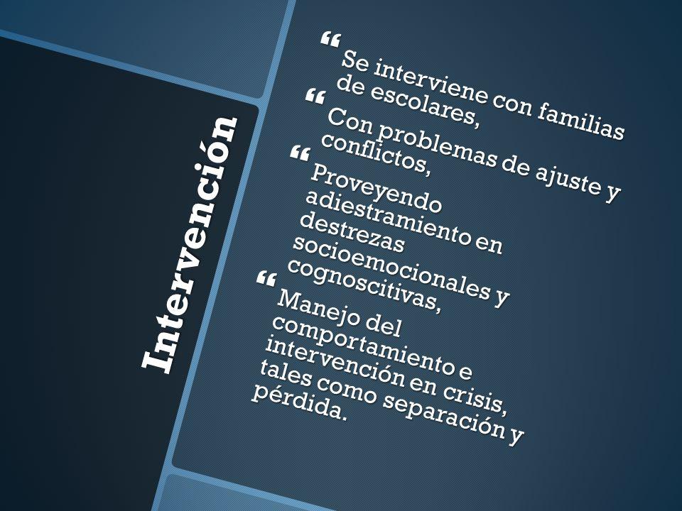 Intervención Se interviene con familias de escolares, Se interviene con familias de escolares, Con problemas de ajuste y conflictos, Con problemas de
