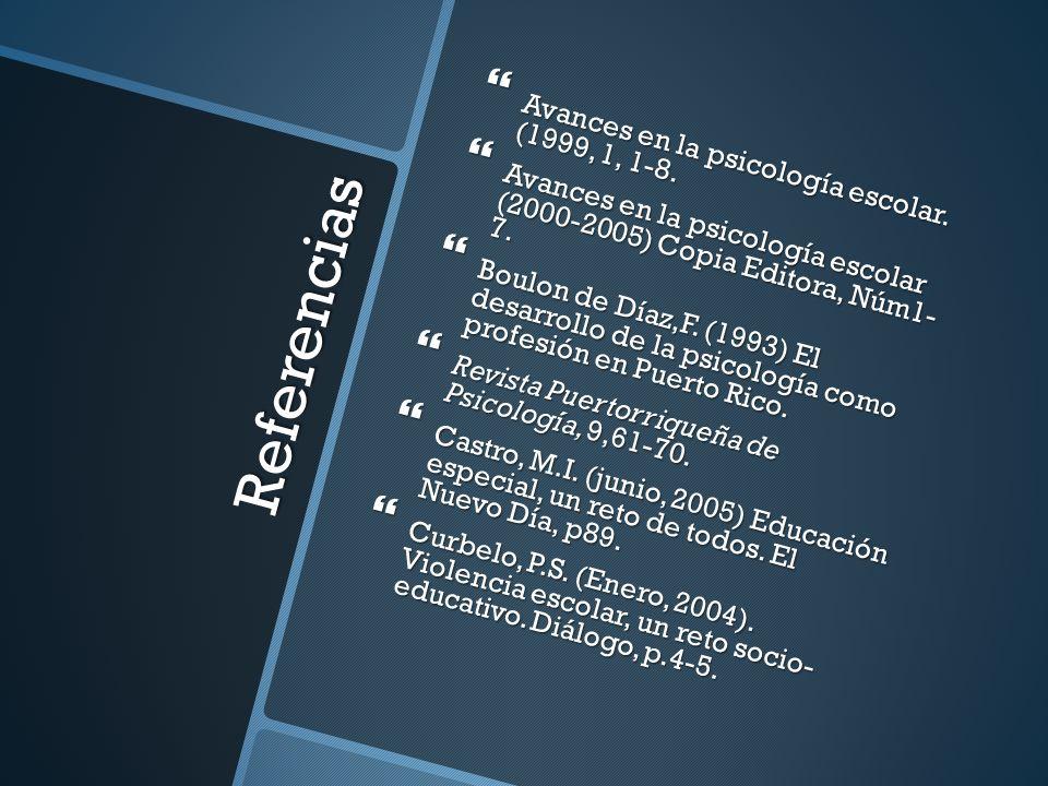 Referencias Avances en la psicología escolar. (1999, 1, 1-8. Avances en la psicología escolar. (1999, 1, 1-8. Avances en la psicología escolar (2000-2