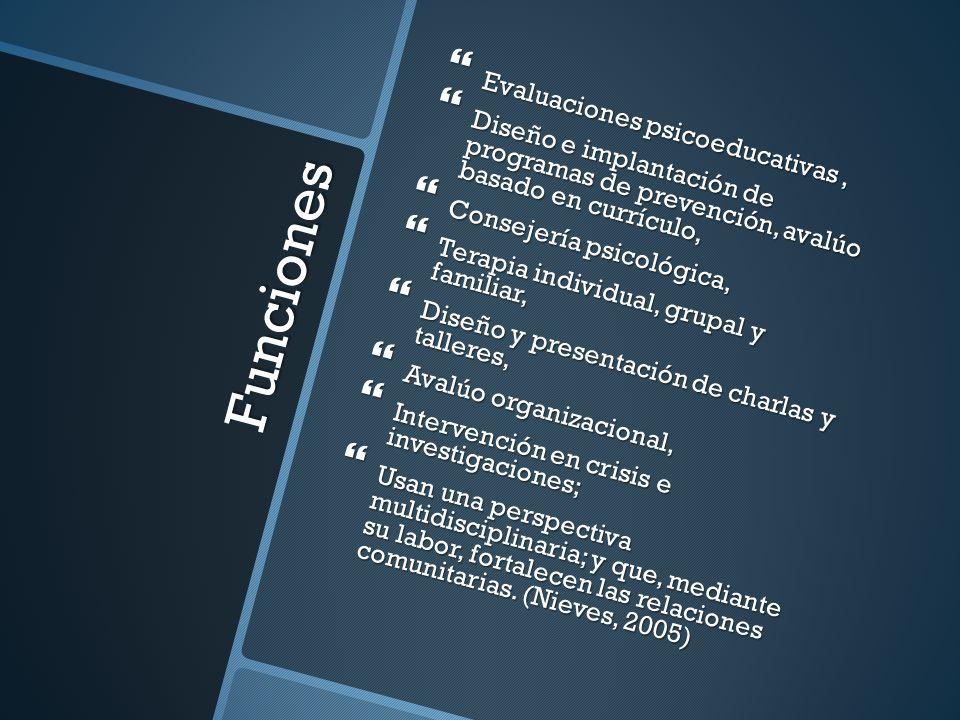 Funciones Evaluaciones psicoeducativas, Evaluaciones psicoeducativas, Diseño e implantación de programas de prevención, avalúo basado en currículo, Di