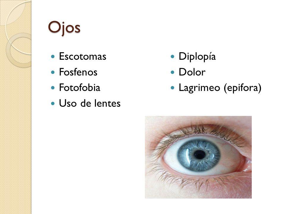 Ojos Escotomas Fosfenos Fotofobia Uso de lentes Diplopía Dolor Lagrimeo (epifora)