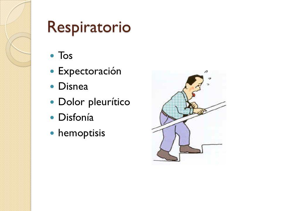 Respiratorio Tos Expectoración Disnea Dolor pleurítico Disfonía hemoptisis