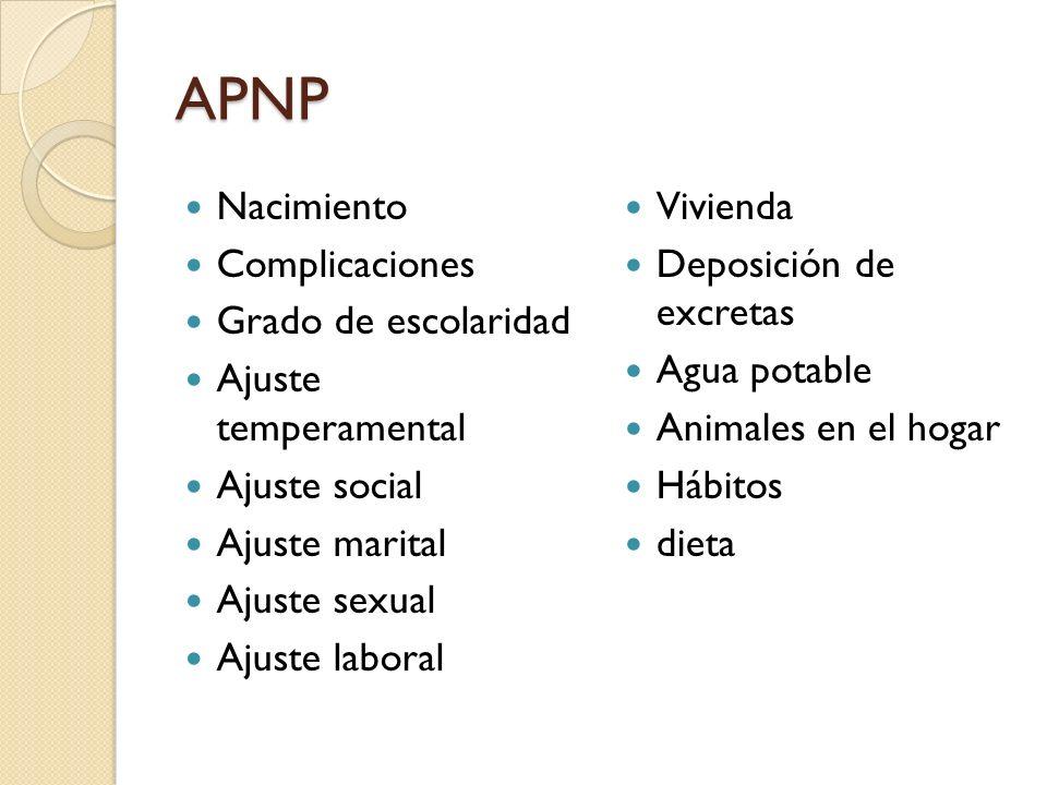 APNP Nacimiento Complicaciones Grado de escolaridad Ajuste temperamental Ajuste social Ajuste marital Ajuste sexual Ajuste laboral Vivienda Deposición