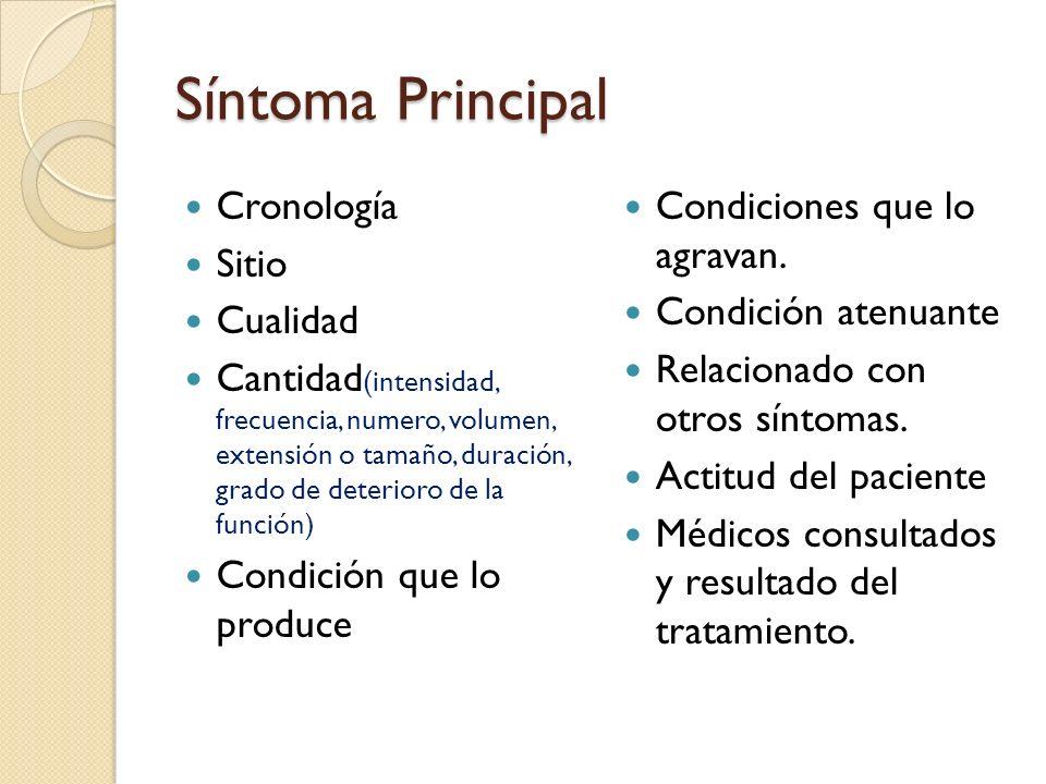 Síntoma Principal Cronología Sitio Cualidad Cantidad (intensidad, frecuencia, numero, volumen, extensión o tamaño, duración, grado de deterioro de la