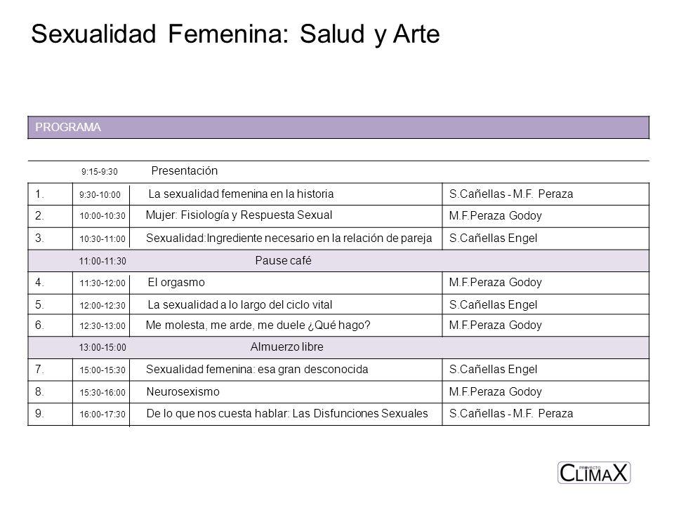 Sexualidad Femenina: Salud y Arte PROGRAMA 9:15-9:30 Presentación 1. 9:30-10:00 La sexualidad femenina en la historiaS.Cañellas - M.F. Peraza 2. 10:00