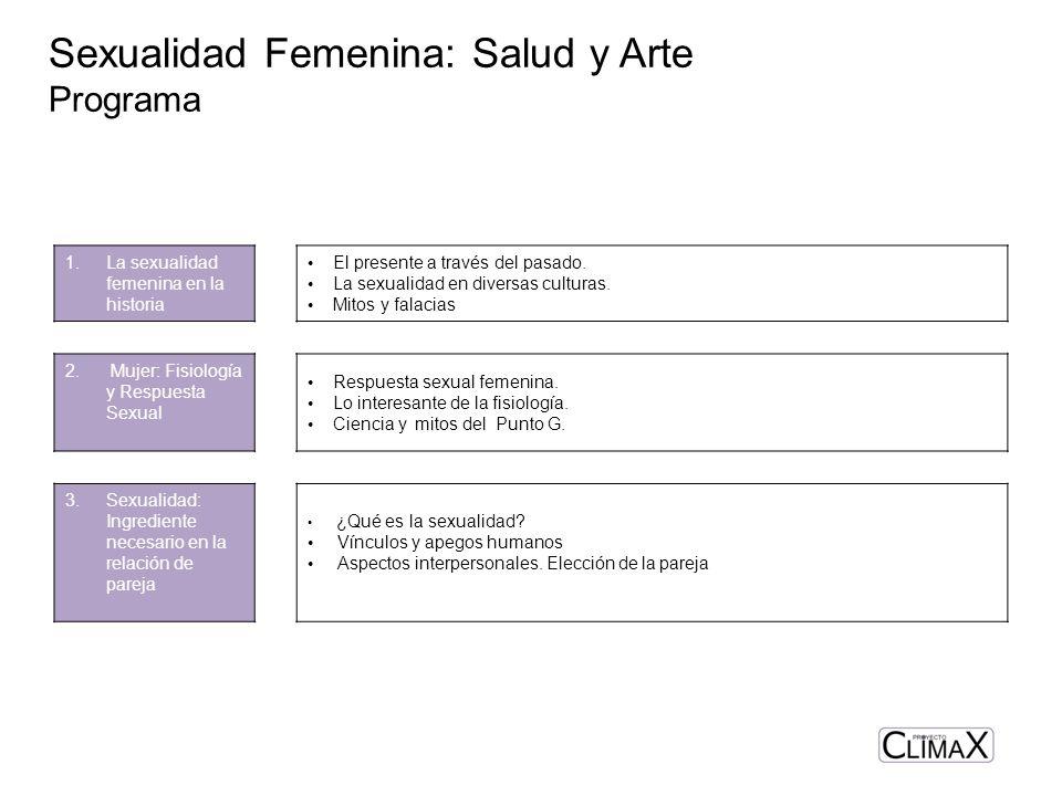 Sexualidad Femenina: Salud y Arte Programa 1.La sexualidad femenina en la historia El presente a través del pasado. La sexualidad en diversas culturas