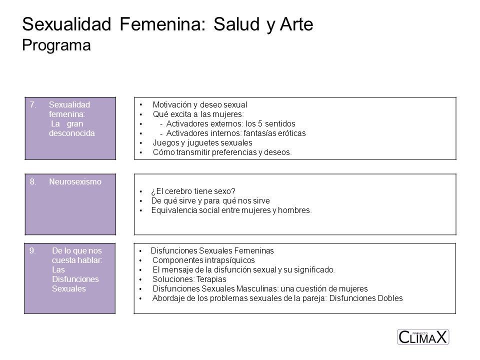 Sexualidad Femenina: Salud y Arte Programa 9.De lo que nos cuesta hablar: Las Disfunciones Sexuales Disfunciones Sexuales Femeninas Componentes intrap