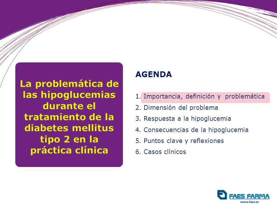 AGENDA 1. Importancia, definición y problemática 2. Dimensión del problema 3. Respuesta a la hipoglucemia 4. Consecuencias de la hipoglucemia 5. Punto