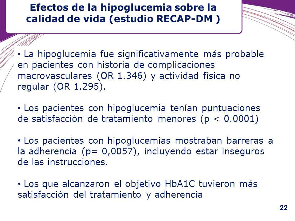 La hipoglucemia fue significativamente más probable en pacientes con historia de complicaciones macrovasculares (OR 1.346) y actividad física no regul