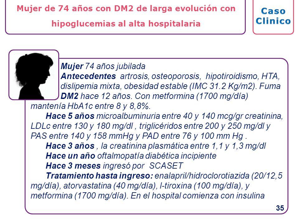Mujer 74 años jubilada Antecedentes artrosis, osteoporosis, hipotiroidismo, HTA, dislipemia mixta, obesidad estable (IMC 31.2 Kg/m2). Fuma DM2 hace 12