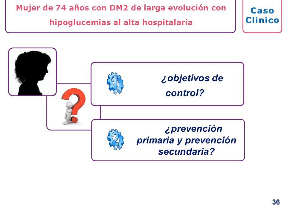 ¿prevención primaria y prevención secundaria? Mujer de 74 años con DM2 de larga evolución con hipoglucemias al alta hospitalaria ¿objetivos de control
