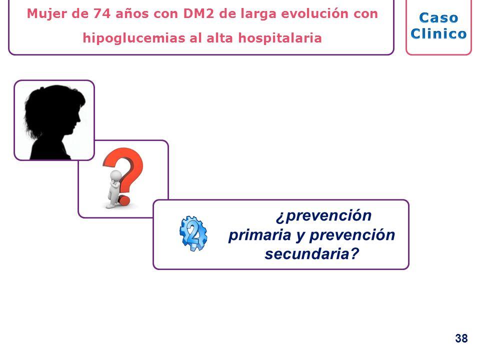 ¿prevención primaria y prevención secundaria? Mujer de 74 años con DM2 de larga evolución con hipoglucemias al alta hospitalaria 38