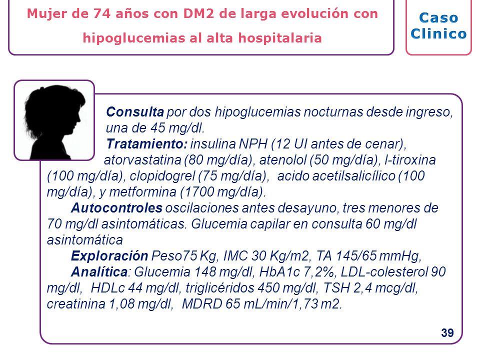 Consulta por dos hipoglucemias nocturnas desde ingreso, una de 45 mg/dl. Tratamiento: insulina NPH (12 UI antes de cenar), atorvastatina (80 mg/día),
