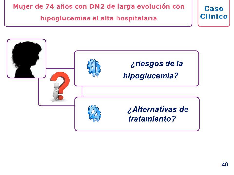 Mujer de 74 años con DM2 de larga evolución con hipoglucemias al alta hospitalaria ¿Alternativas de tratamiento? ¿riesgos de la hipoglucemia? 40