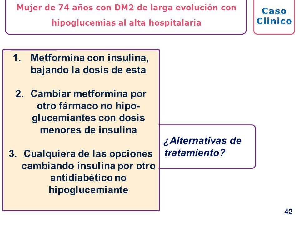 Mujer de 74 años con DM2 de larga evolución con hipoglucemias al alta hospitalaria ¿Alternativas de tratamiento? 1. Metformina con insulina, bajando l