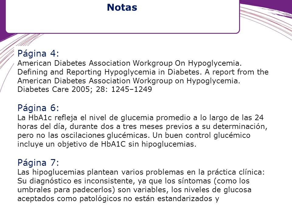 Página 4: American Diabetes Association Workgroup On Hypoglycemia. Defining and Reporting Hypoglycemia in Diabetes. A report from the American Diabete