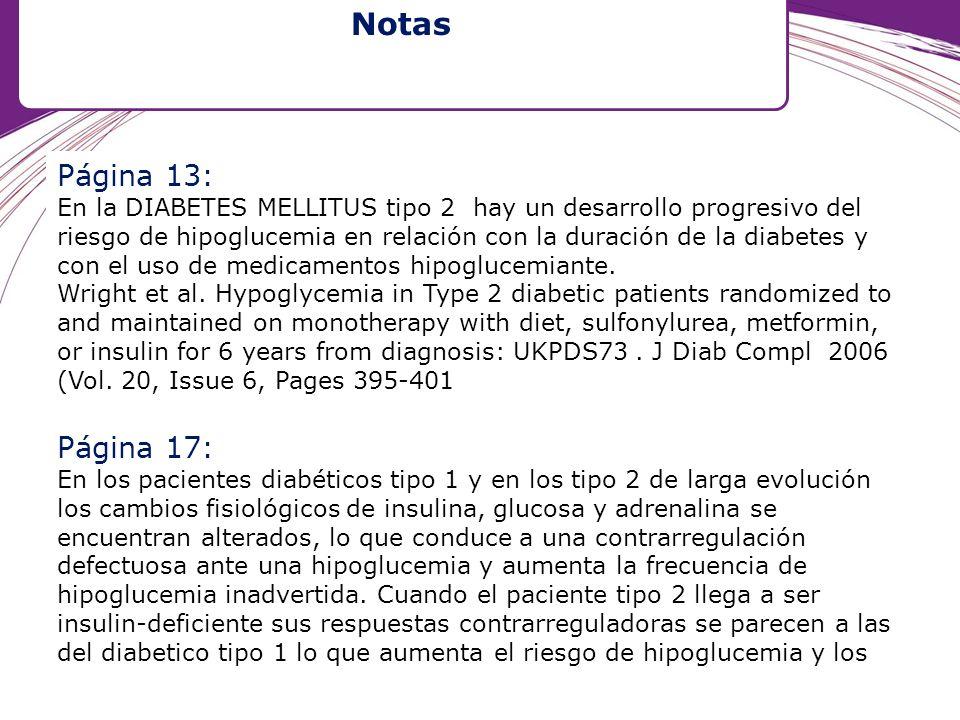 Página 13: En la DIABETES MELLITUS tipo 2 hay un desarrollo progresivo del riesgo de hipoglucemia en relación con la duración de la diabetes y con el