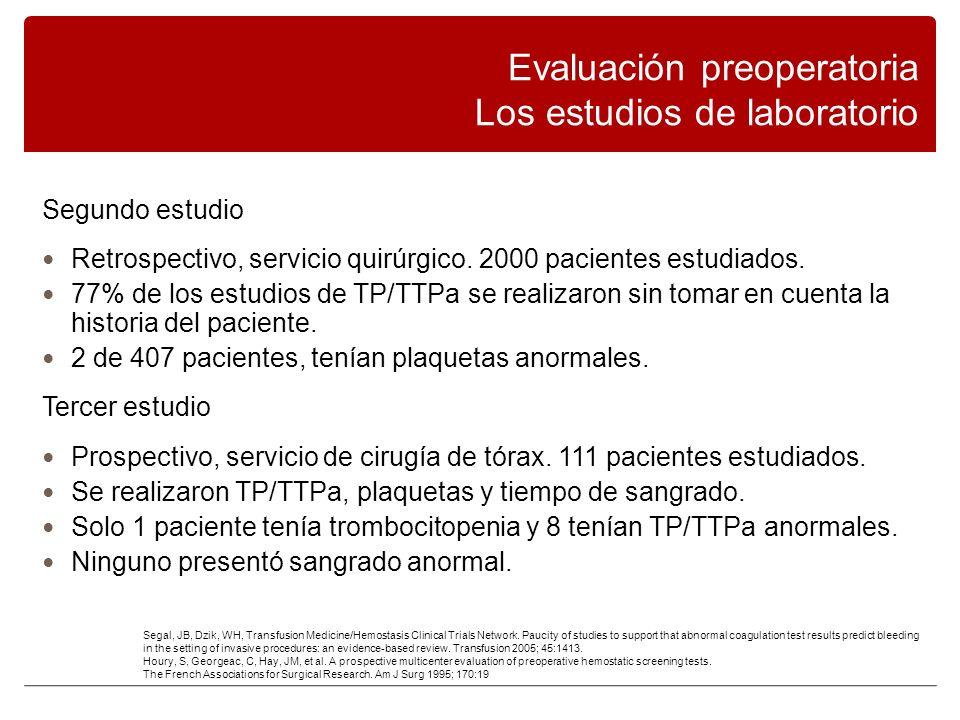 Segundo estudio Retrospectivo, servicio quirúrgico.