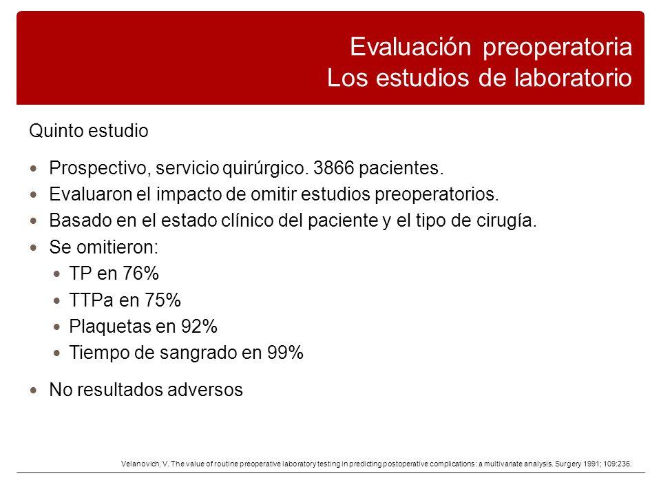 Quinto estudio Prospectivo, servicio quirúrgico.3866 pacientes.