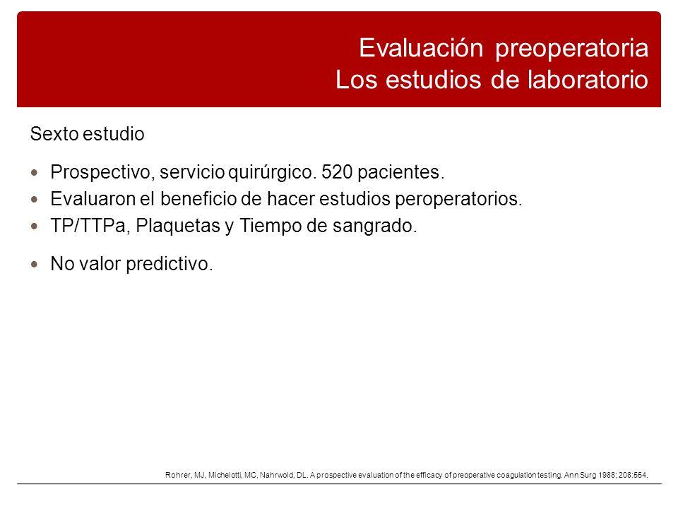 Sexto estudio Prospectivo, servicio quirúrgico.520 pacientes.