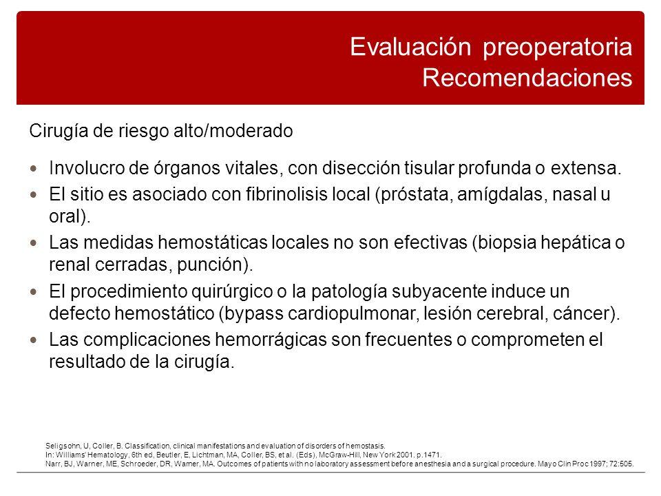 Cirugía de riesgo alto/moderado Involucro de órganos vitales, con disección tisular profunda o extensa.