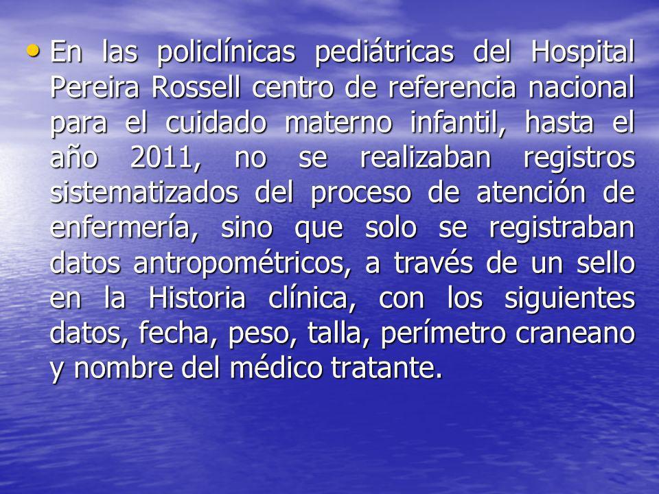 En las policlínicas pediátricas del Hospital Pereira Rossell centro de referencia nacional para el cuidado materno infantil, hasta el año 2011, no se