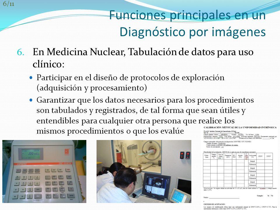 Funciones principales en un Diagnóstico por imágenes 6. En Medicina Nuclear, Tabulación de datos para uso clínico: Participar en el diseño de protocol