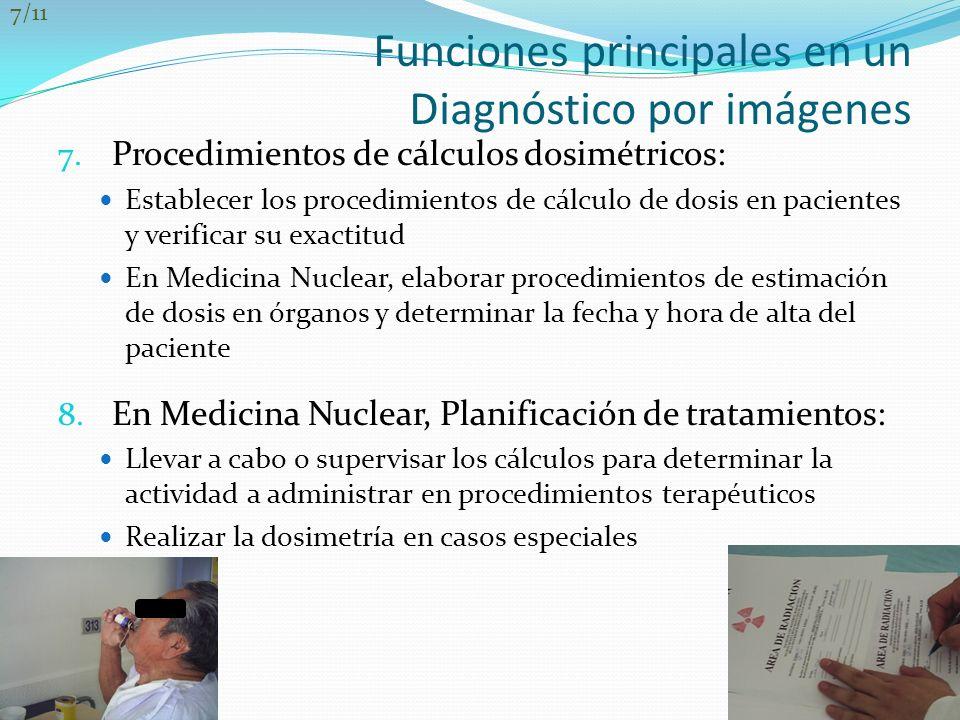 Funciones principales en un Diagnóstico por imágenes 7. Procedimientos de cálculos dosimétricos: Establecer los procedimientos de cálculo de dosis en