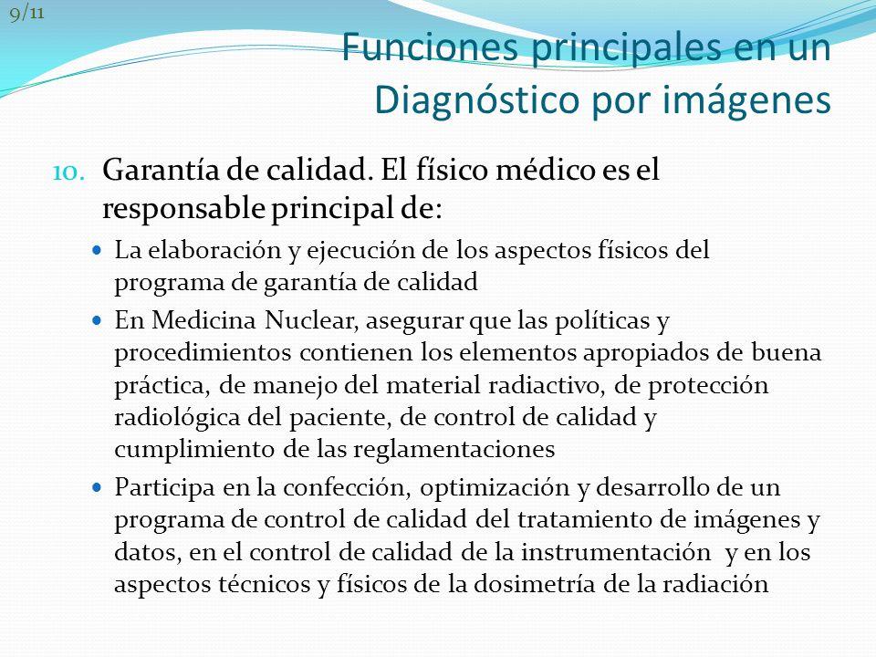 Funciones principales en un Diagnóstico por imágenes 10. Garantía de calidad. El físico médico es el responsable principal de: La elaboración y ejecuc