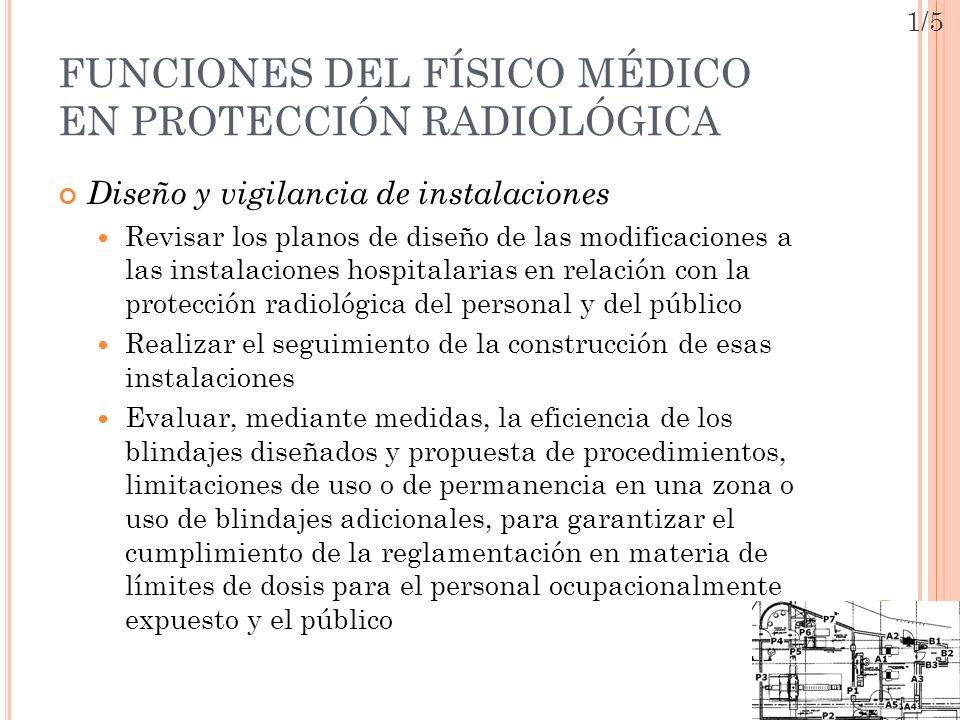 FUNCIONES DEL FÍSICO MÉDICO EN PROTECCIÓN RADIOLÓGICA Diseño y vigilancia de instalaciones Revisar los planos de diseño de las modificaciones a las in