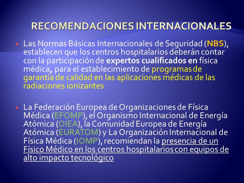 Las Normas Básicas Internacionales de Seguridad (NBS), establecen que los centros hospitalarios deberán contar con la participación de expertos cualif