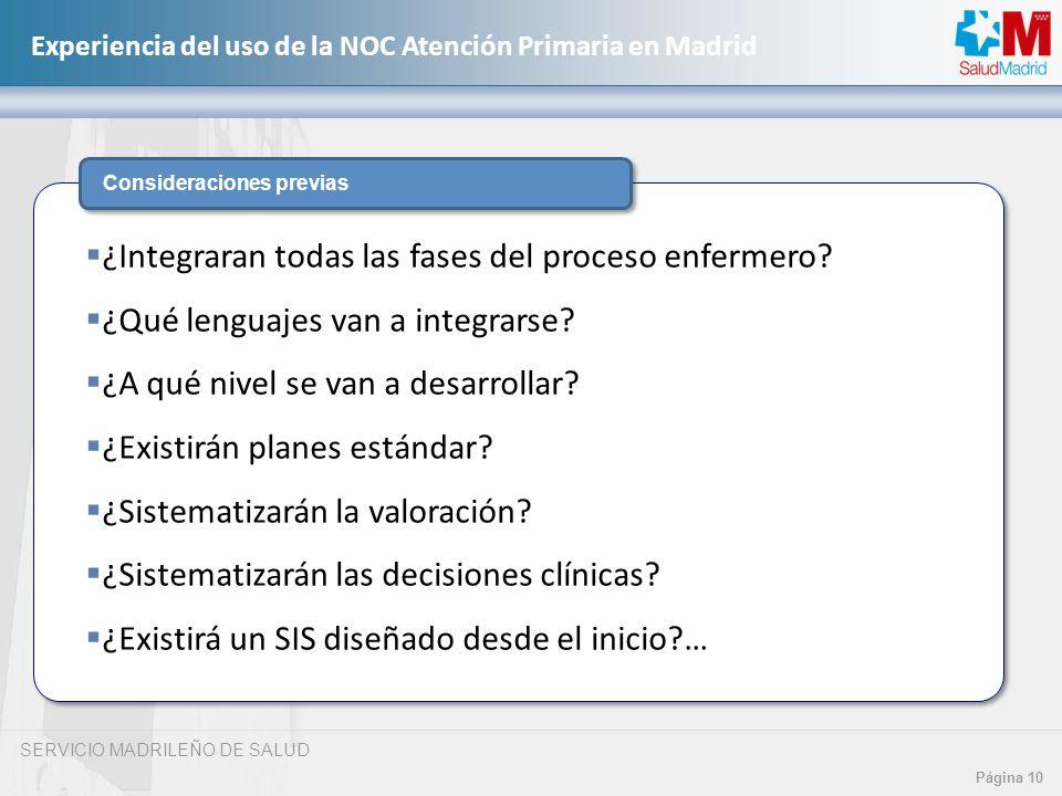 SERVICIO MADRILEÑO DE SALUD Página 10 Experiencia del uso de la NOC Atención Primaria en Madrid Consideraciones previas ¿Integraran todas las fases de