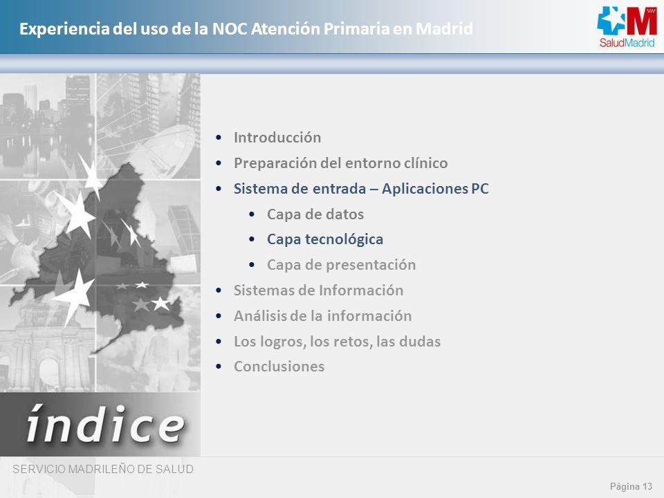 SERVICIO MADRILEÑO DE SALUD Página 13 Experiencia del uso de la NOC Atención Primaria en Madrid Introducción Preparación del entorno clínico Sistema d