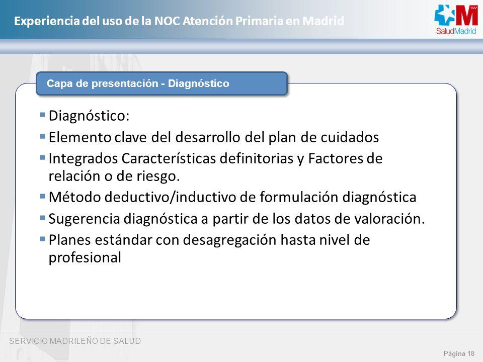 SERVICIO MADRILEÑO DE SALUD Página 18 Experiencia del uso de la NOC Atención Primaria en Madrid Capa de presentación - Diagnóstico Diagnóstico: Elemen