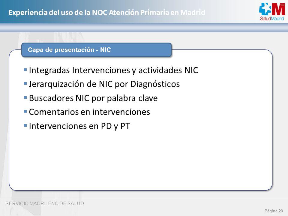 SERVICIO MADRILEÑO DE SALUD Página 20 Experiencia del uso de la NOC Atención Primaria en Madrid Capa de presentación - NIC Integradas Intervenciones y