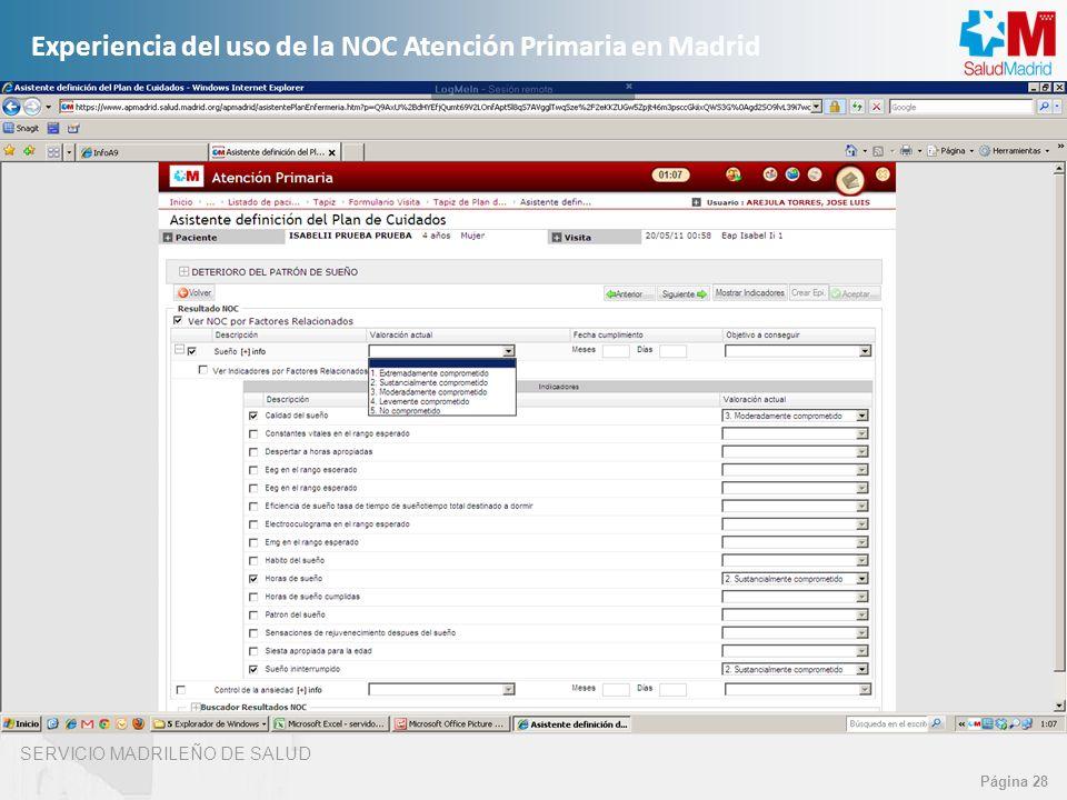 SERVICIO MADRILEÑO DE SALUD Página 28 Experiencia del uso de la NOC Atención Primaria en Madrid