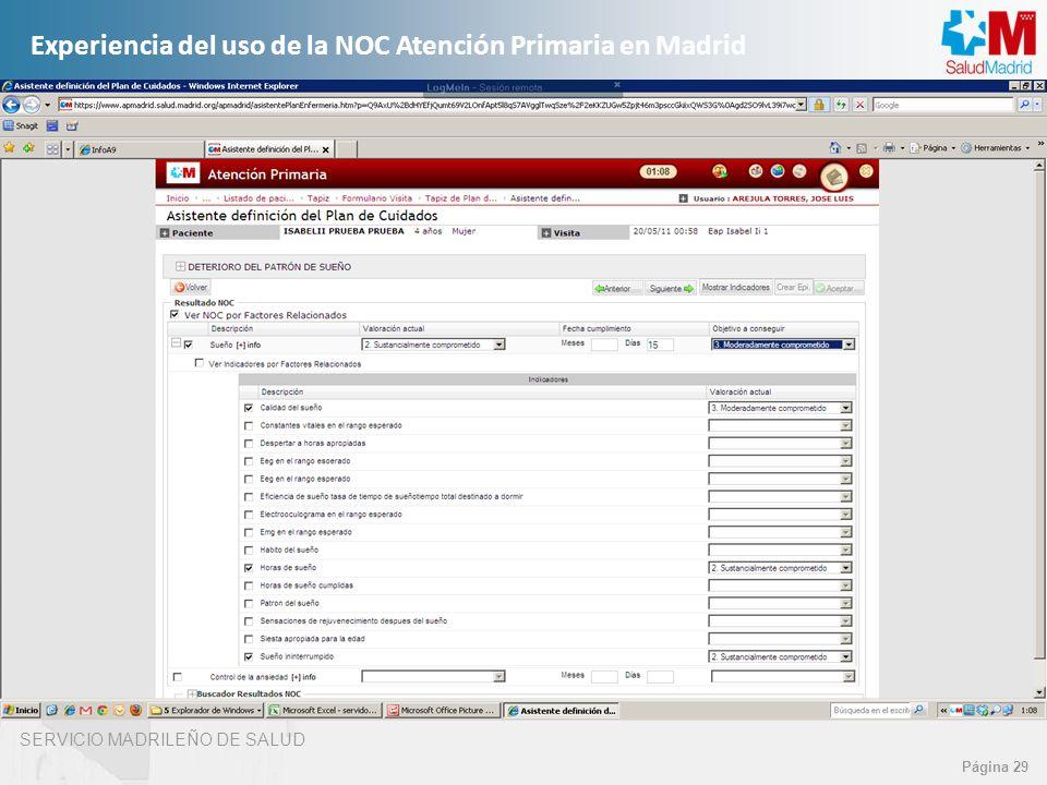 SERVICIO MADRILEÑO DE SALUD Página 29 Experiencia del uso de la NOC Atención Primaria en Madrid