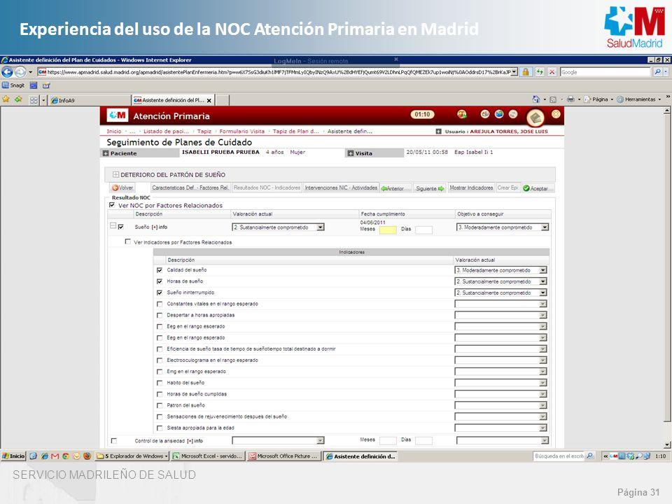 SERVICIO MADRILEÑO DE SALUD Página 31 Experiencia del uso de la NOC Atención Primaria en Madrid