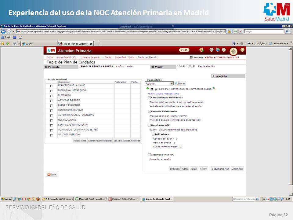SERVICIO MADRILEÑO DE SALUD Página 32 Experiencia del uso de la NOC Atención Primaria en Madrid