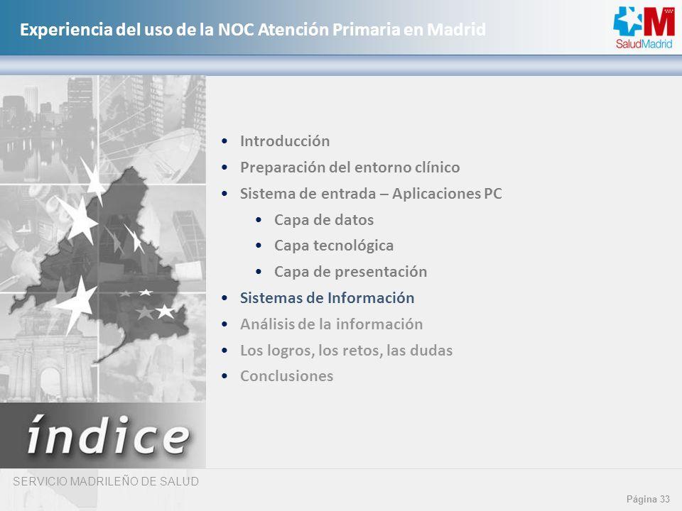SERVICIO MADRILEÑO DE SALUD Página 33 Experiencia del uso de la NOC Atención Primaria en Madrid Introducción Preparación del entorno clínico Sistema d