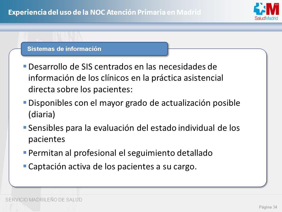SERVICIO MADRILEÑO DE SALUD Página 34 Experiencia del uso de la NOC Atención Primaria en Madrid Sistemas de información Desarrollo de SIS centrados en