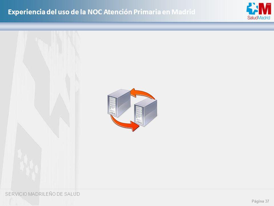 SERVICIO MADRILEÑO DE SALUD Página 37 Experiencia del uso de la NOC Atención Primaria en Madrid