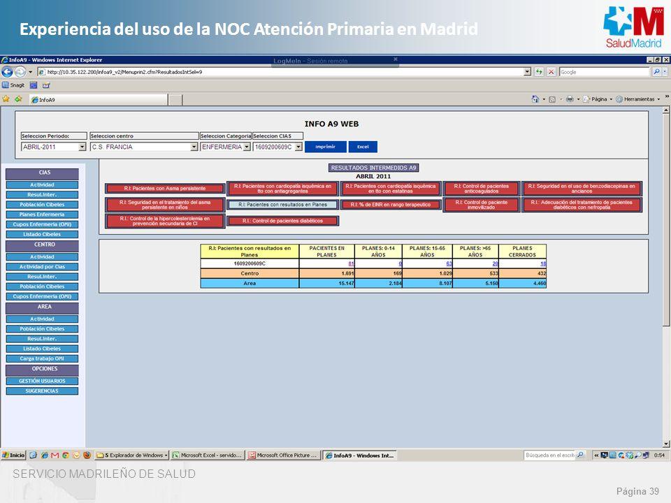 SERVICIO MADRILEÑO DE SALUD Página 39 Experiencia del uso de la NOC Atención Primaria en Madrid