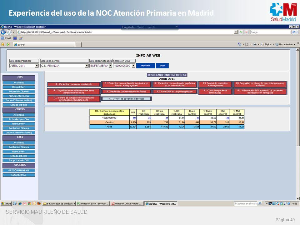 SERVICIO MADRILEÑO DE SALUD Página 40 Experiencia del uso de la NOC Atención Primaria en Madrid