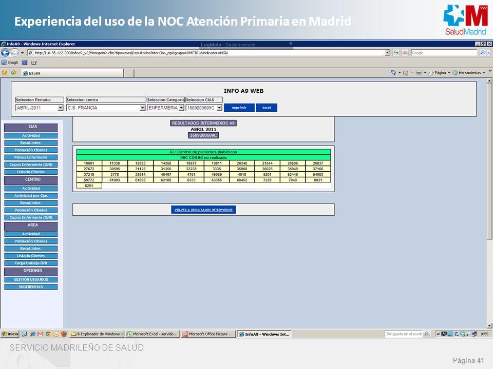 SERVICIO MADRILEÑO DE SALUD Página 41 Experiencia del uso de la NOC Atención Primaria en Madrid
