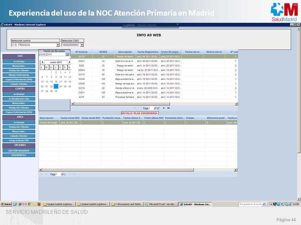 SERVICIO MADRILEÑO DE SALUD Página 44 Experiencia del uso de la NOC Atención Primaria en Madrid